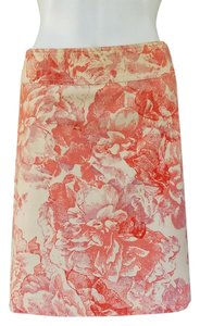 Elevenses Floral Corduroy Stretch Pink A-line Skirt Cream, Pink
