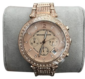 Michael Kors Uptown Glam Parker Chronograph Rose Gold-Tone Ladies Watch MK5663