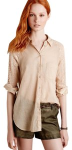 Anthropologie Lace Holding Cotton Button Down Shirt