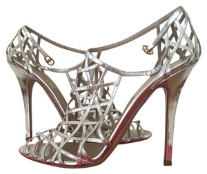 Valentino Metallic Stiletto Couture Cage Silver Sandals