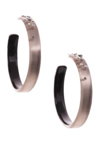 Alexis Bittar Alexis Bittar Warm Gray Lucite Moon Dust Large Hoop Earrings