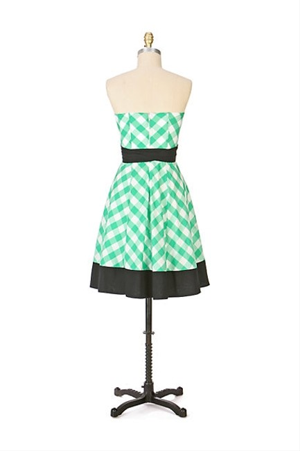 Anthropologie short dress Green, Black, White Gingham Retro Strapless Sweetheart on Tradesy