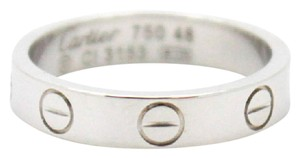 Cartier #11024 white 18K gold Love band ring size 48 4mm wide