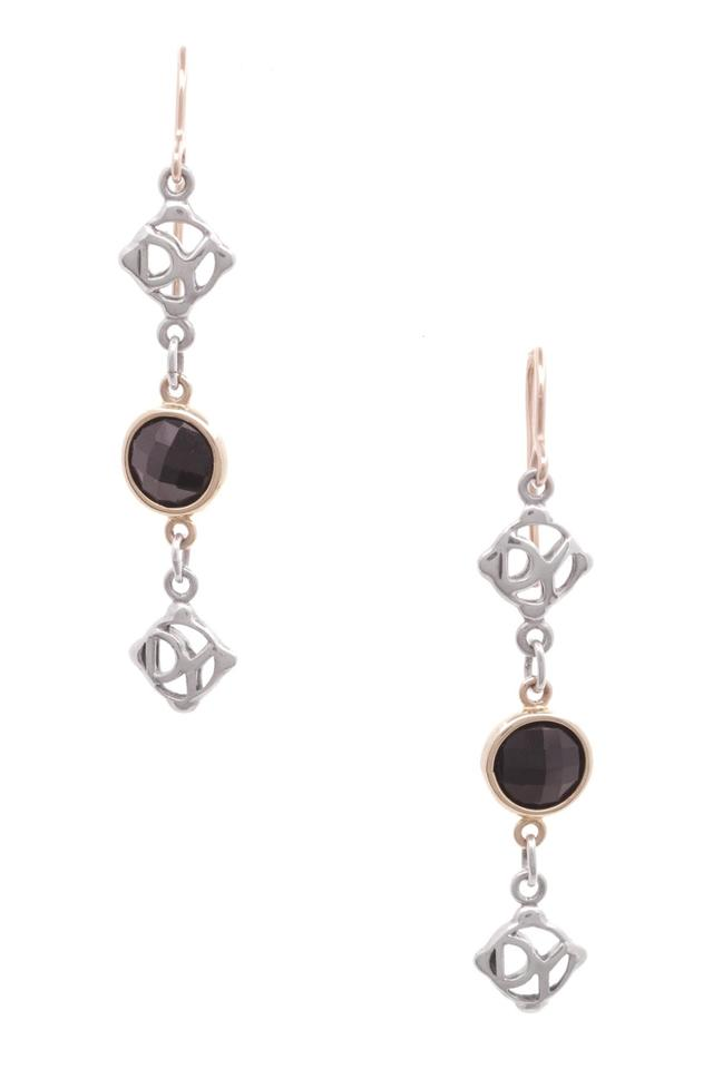 David Yurman Sterling Silver 18k Gold Onyx Dy Logo Drop Earrings