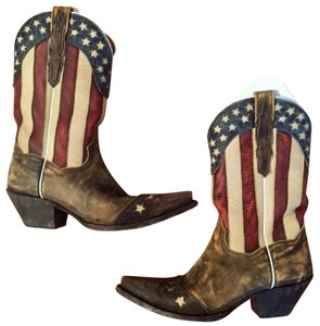 Dan Post Boots Cowboy Cowboy America Midcalf Brown, White, Blue, Red Boots