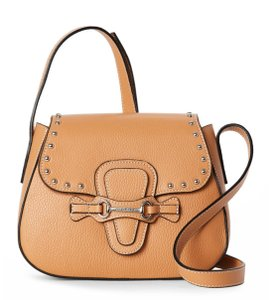 Valentino Pebbled Leather Studded Leather Satchel in Almond