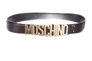 Moschino Black leather Moschino gold-tone letter charms belt S