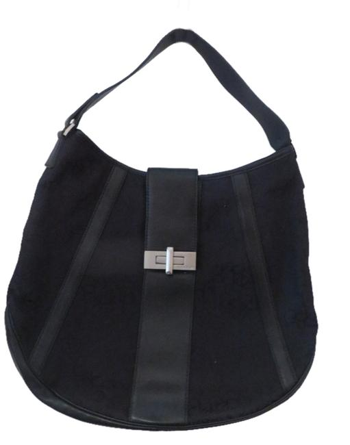 Item - Black Leather and Tapestry Hobo Bag