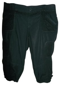Yessica Pockets Stretchy Waist Euro 46 Belt Loops Capris Black