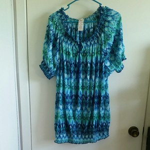 Faded Glory Top Blue, Turquoise, Green Multi