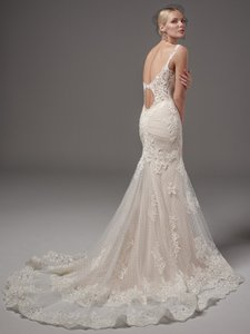 Sottero and Midgley Ivory/Nude Lace Melrose Leigh Sexy Wedding Dress Size 8 (M)