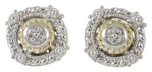 Judith Ripka Judith Ripka Sterling Silver 18K Garland Diamond Stud Earrings