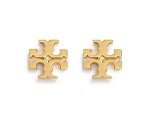 Tory Burch New Tory Burch Small T-Logo Studs in 16k Gold on Card/Dust Cover