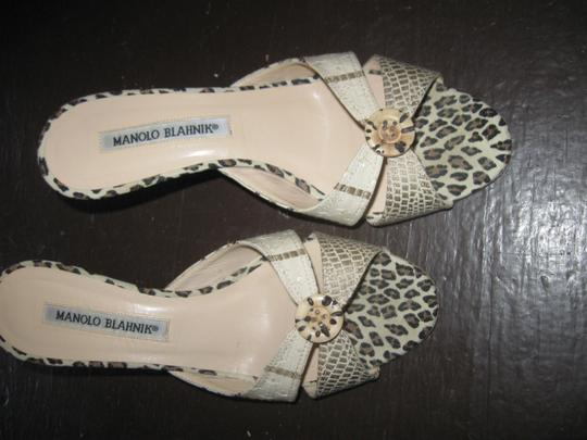 Manolo Blahnik multi color with tiger print Mules