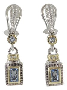 Judith Ripka Judith Ripka Sterling Silver 18K Blue Topaz Diamond Drop Earrings