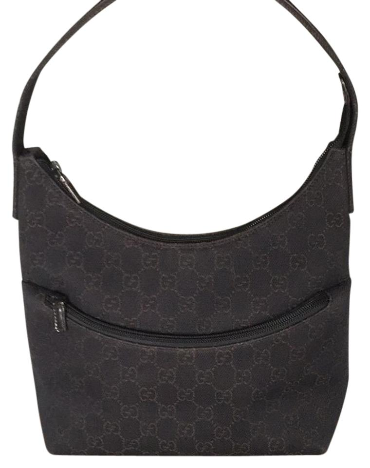 31ee89e11c8d Gucci Monogram Deep Brown Canvas with Leather Trim Strap Shoulder Bag