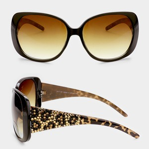 Other Leopard pattern crystal detail oversized sunglasses