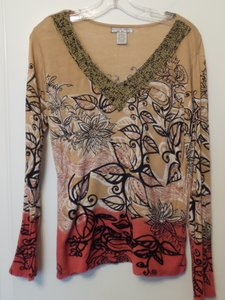 Alberto Makali Knit Embroidered Long Large Dip Dyed Top Tan + black, red, white