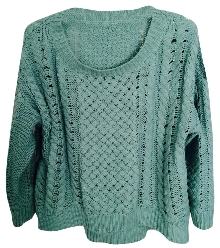 363cc25f53f Oversized Zara Style Knit Cable Mint Green Jade Sweater - Tradesy