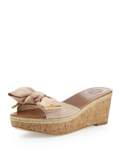 Tory Burch Bow Blush Cork Camellia Pink Wedges