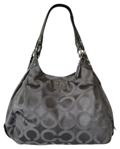 Coach Sateen Signature Jacquard Metallic Leather Hobo Bag