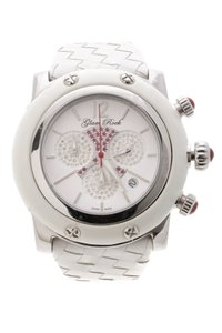 Glam Rock Glam Rock Stainless Steel & White Leather Diamond & Ruby Miami Watch
