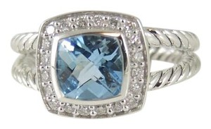 David Yurman David Yurman Sterling Silver .17tcw 7mm Blue Topaz Petite Albion Ring