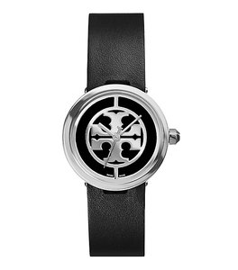Tory Burch Tory Burch Reva Watch, Black Leather/Stainless Steel, 28 MM