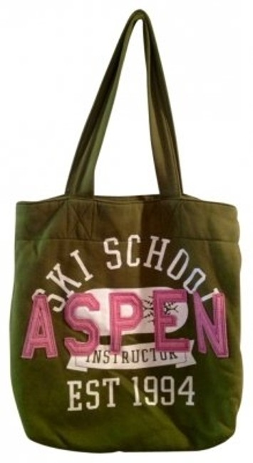 Item - Aspen Winter Collection Green and Pink Cotton Tote