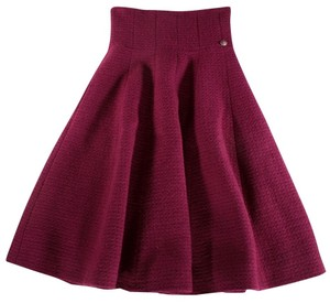 Chanel Red Wool Flared Skirt Red, Cranberry