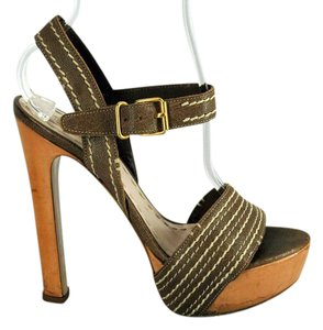 Miu Miu Strappy Open Toe Brown Sandals