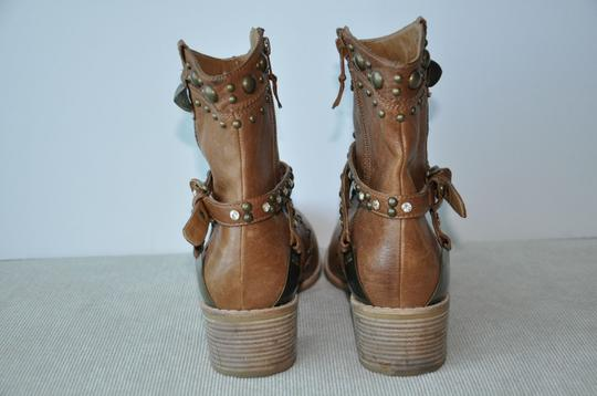 Stuart Weitzman Leather Ankle With Rhinestones Camel Boots
