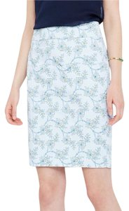 Ann Taylor Pencil Floral Skirt Blue