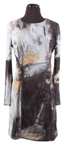 Helmut Lang short dress Multi-Color Abstract Print Longsleeve on Tradesy