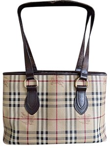 Burberry Vintage Monogram Tote in Khaki/Blk/Red