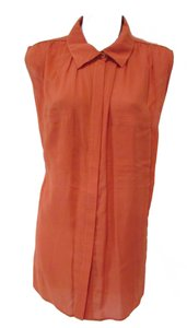 Vince Buttons Pockets Casual Top Orange
