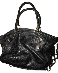 Coach Leather Stamped Leather Silver Satchel in Black