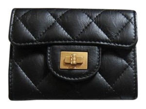 Chanel CHANEL Black Calfskin Reissue 2.55 O-Coin Purse Card Holder Wallet