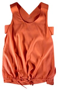 Chlo Silk Cut Out Drawstring Top Orange