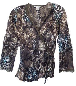 Alberto Makali Wrap Lightweight Silky Oversized Top Brown, taupe, black, white, teal blue
