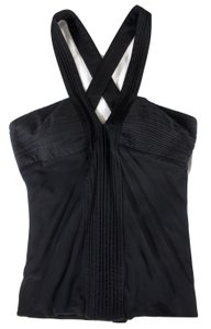 Versace Pleated Criss Cross Bustier Top Black