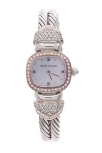 David Yurman David Yurman Sterling Silver Diamond & Sapphire Cable Bangle Watch