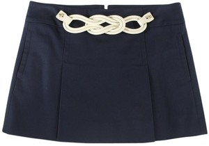 Gucci Leather Belt Stretch Twill Mini Mini Skirt Blue