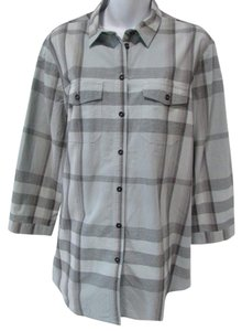 Burberry Brit Plaid Check Tunic Buttons Classic Top Gray