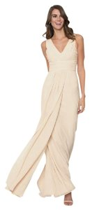 Monique Lhuillier Champagne Chiffon Rebecca Formal Bridesmaid/Mob Dress Size 2 (XS)