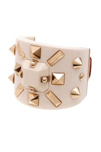 Louis Vuitton Louis Vuitton Ivory Studded Runway Wide Cuff Bracelet
