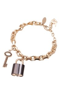 Louis Vuitton Louis Vuitton Gold-Tone Onyx Padlock Charm Bracelet