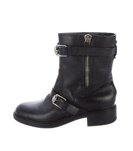 Gucci Moto Biker Buckles Zipper Black Boots