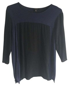 Ella Moss Color-blocking 3/4 Length Sleeves Round Neck Comfortable Soft Top Black navy colorblock
