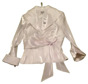 Joanna Chen Nwt Sheer Top Ivory/white Hue